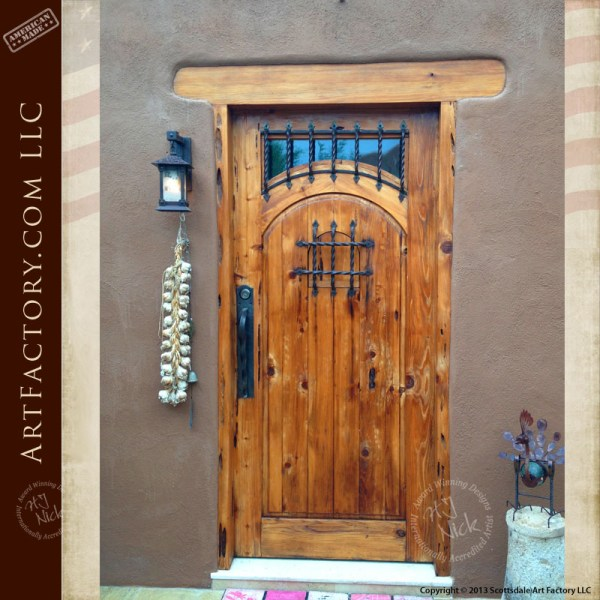 Rustic Wood Speakeasy Door With Hand Forged Iron Hardware