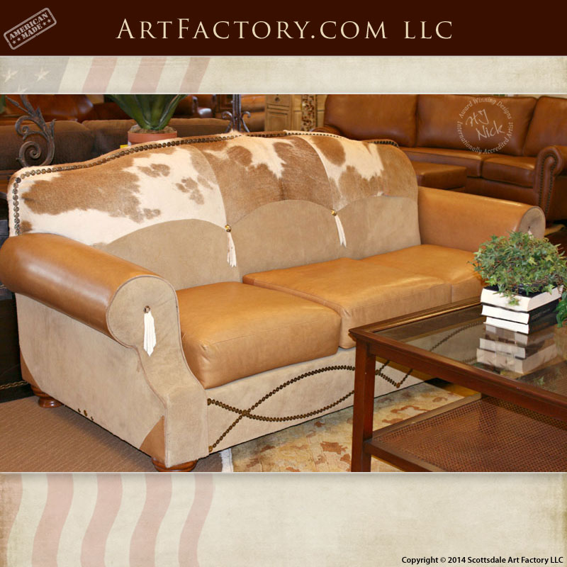 Western Style Leather Sofa: Hand Stitched Full Grain American Made U2013 6902