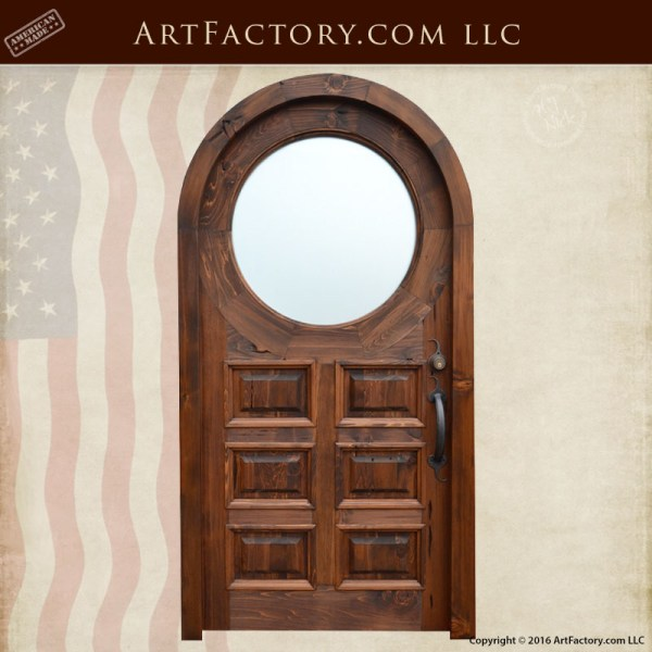 Custom Raised Panel Wooden Door Full Arched With Round Window