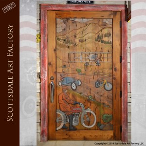 racing theme custom wood door