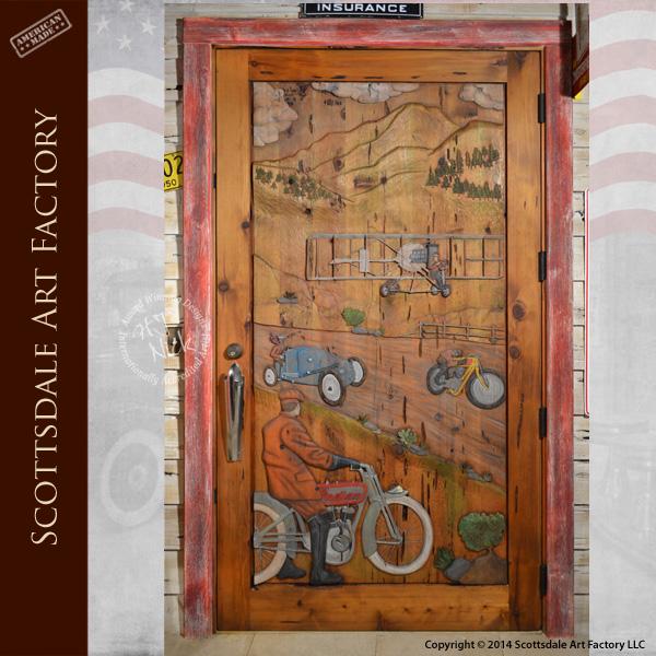 racing theme custom wood door