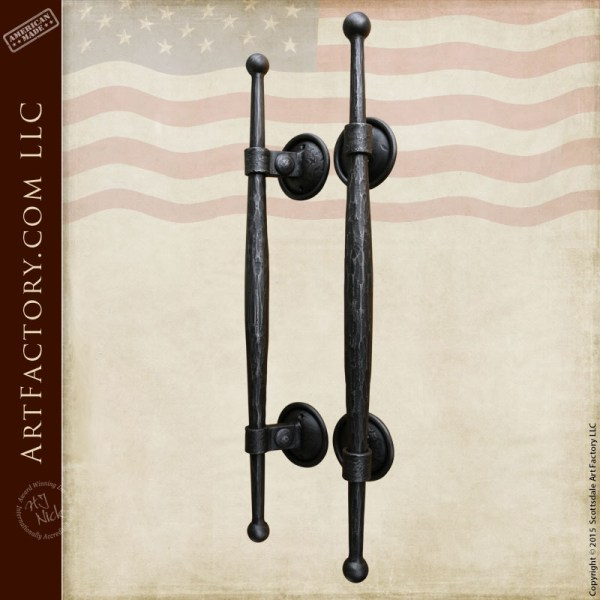 Medieval Style Castle Door Handles Solid Hand Forged Iron