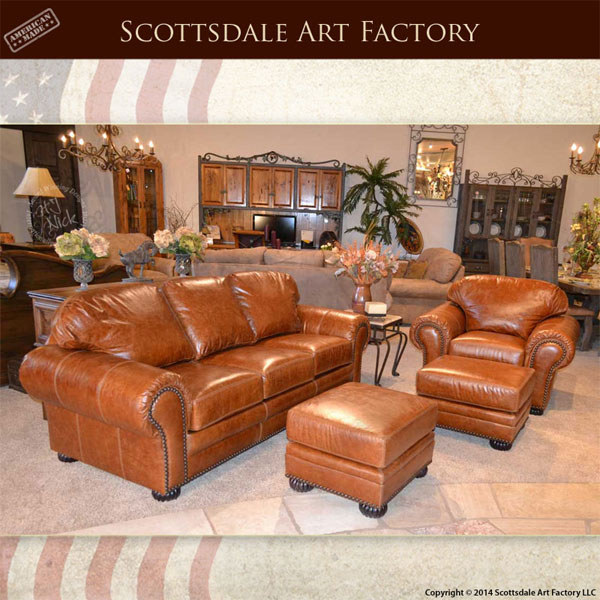 custom leather living room set