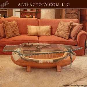 Arapaho canoe inspired coffee table