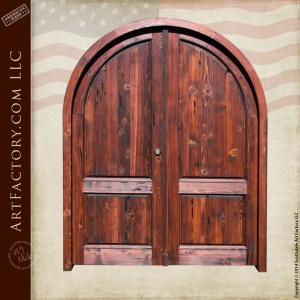 arched wooden double doors
