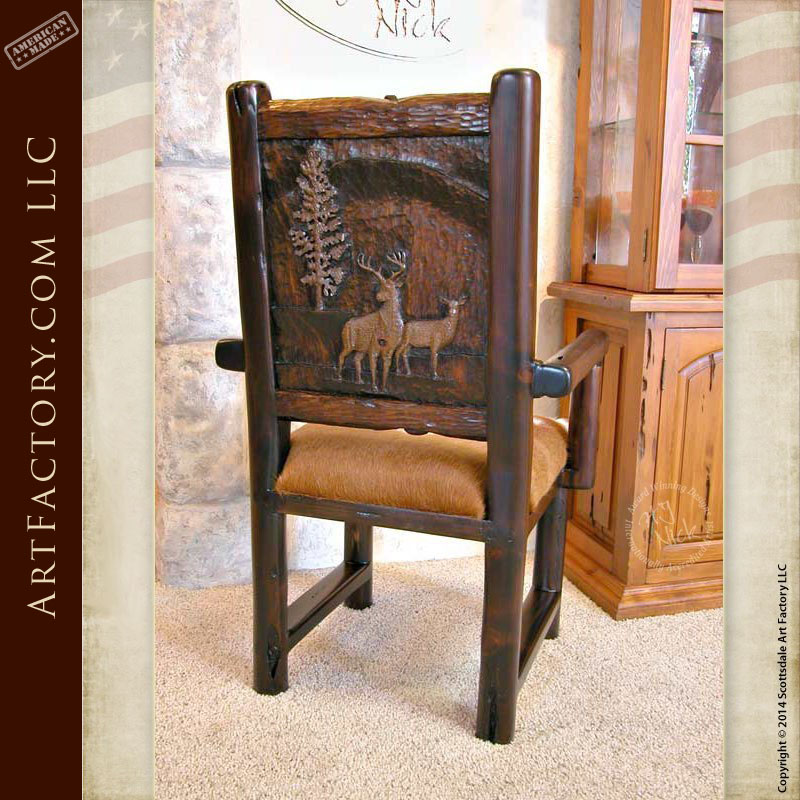 hand carved lodge dining chairs