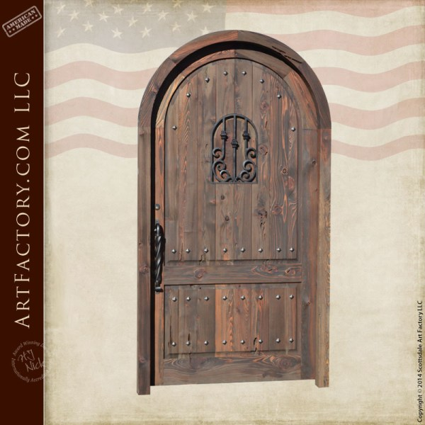 arched wooden castle door