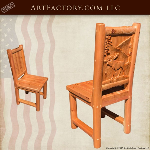 moose hand carved dining chairs