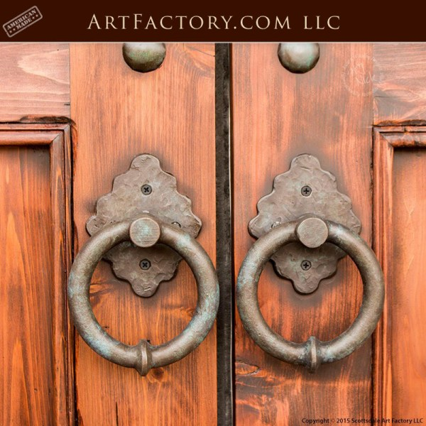custom castle entrance doors with medieval style ring door pull