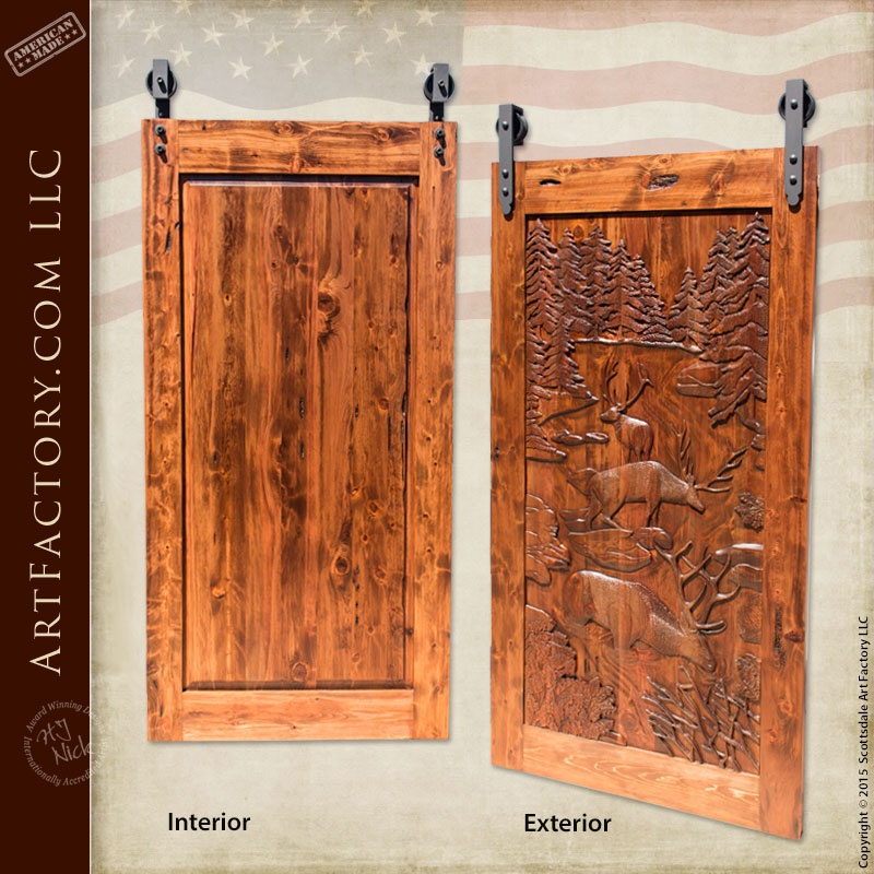 Hand carved barn door fine art solid wood sliding