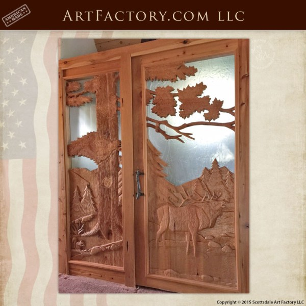 elk hand carved front door