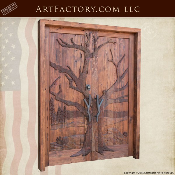 winter tree hand carved doors