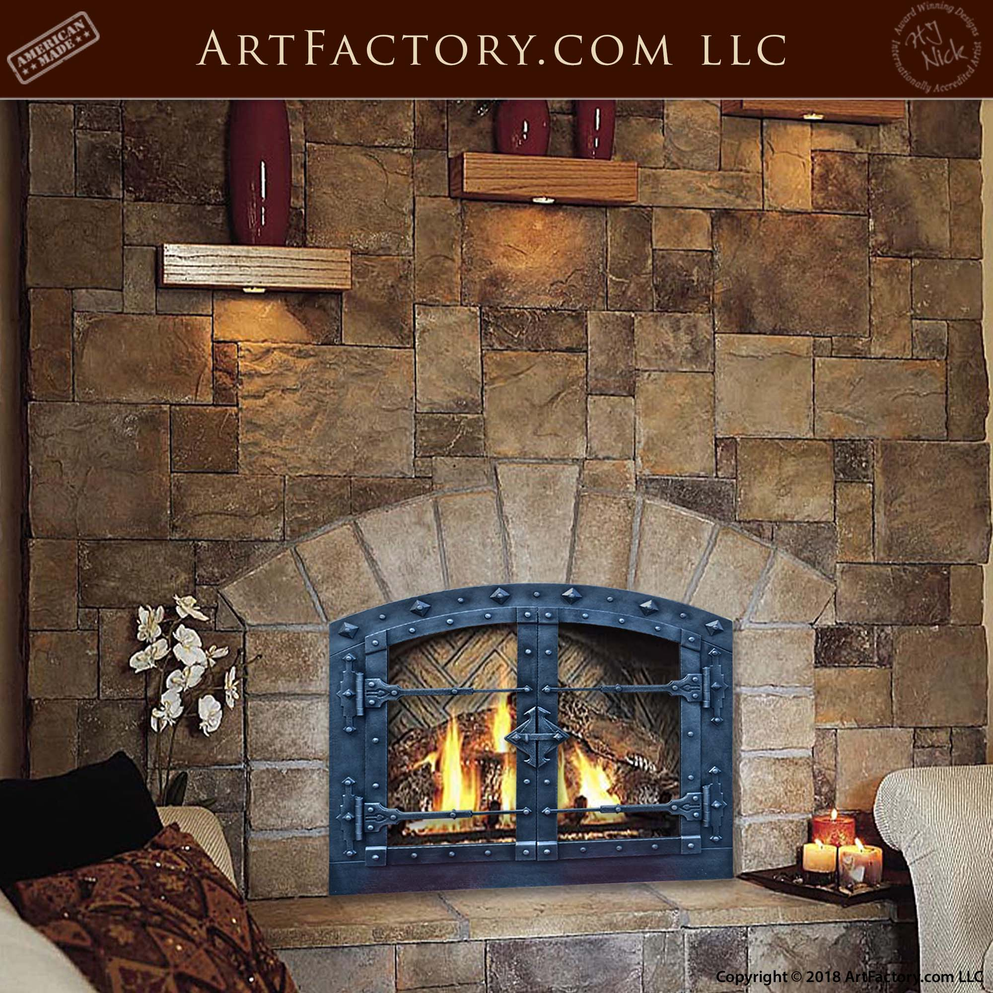 Custom Hand Forged Fireplace Doors: Fine Art Quality Custom Designs - FPS187