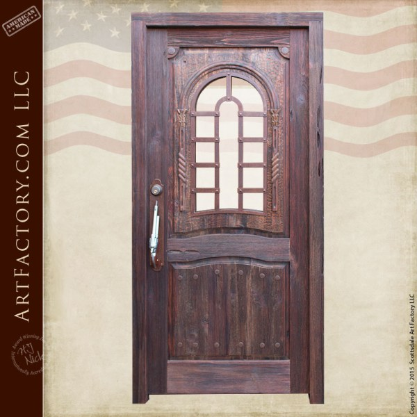 old west inspired wooden door