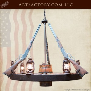 wagon wheel rifle chandelier