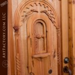 wood castle entry door