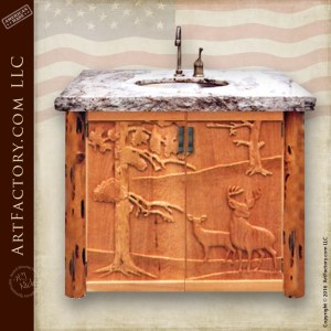 Custom Hand Carved Bathroom Vanity