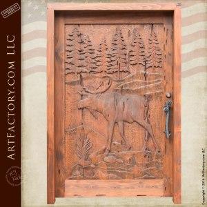 custom moose hand carved door