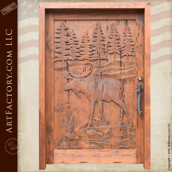 custom moose hand carved door