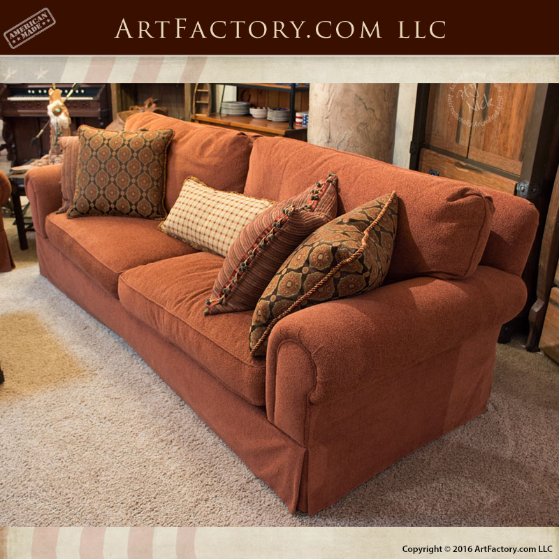 Rustic Red Couch Goose Down Custom Furniture Design Scottsdale Art Factory