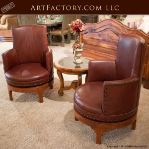 custom fine leather swivel chair