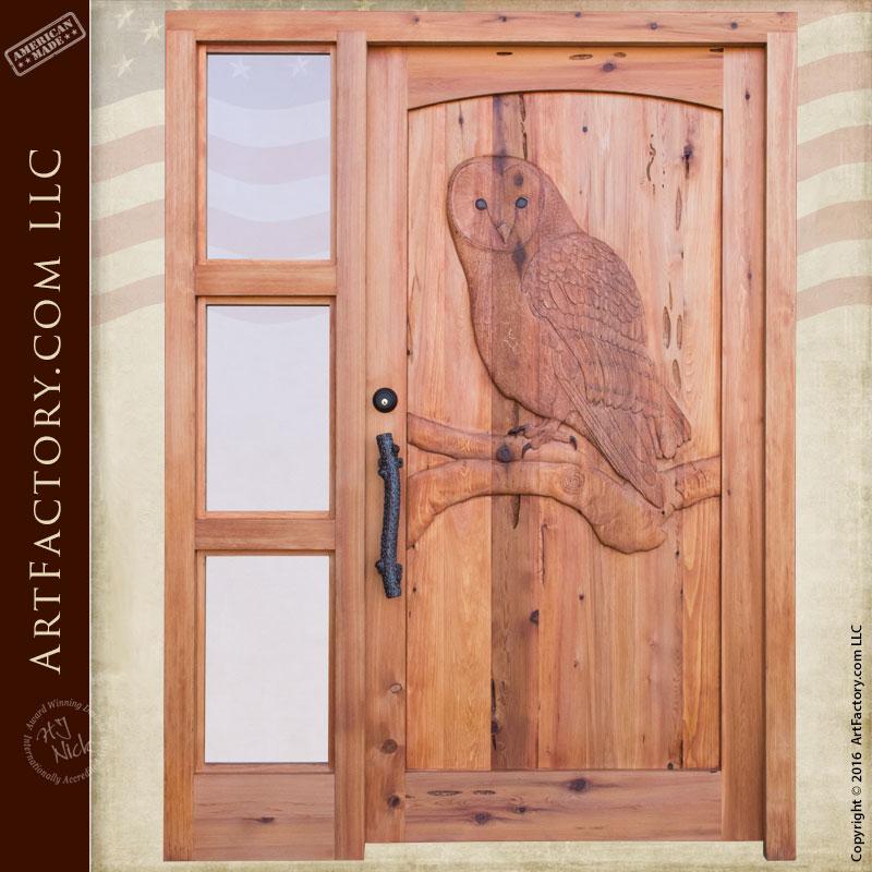 wooden door with sidelight