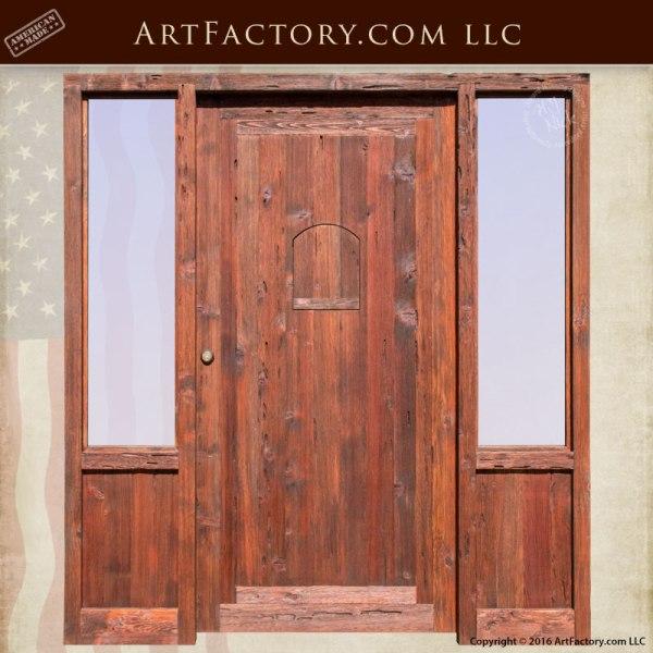 custom wood exterior door with sidelight