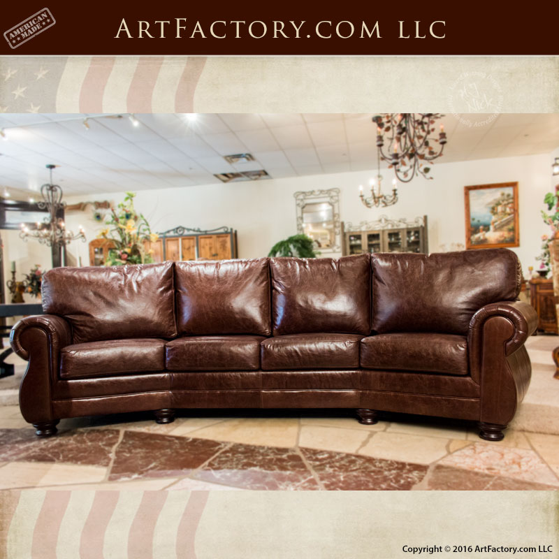 Curved Sofa Sectional Leather: Curved Four Cushion Full Grain Leather Sofa