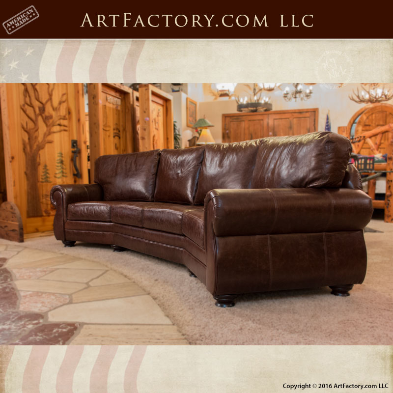 Curved Four Cushion Sofa Custom Full Grain Leather Couches
