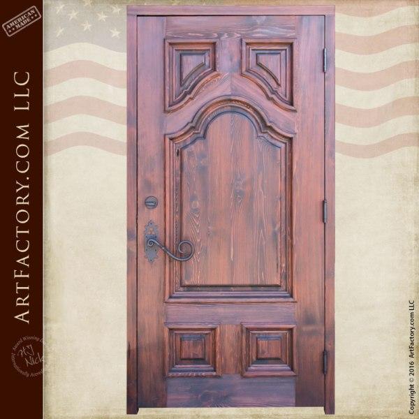 custom door with custom wrought iron hardware