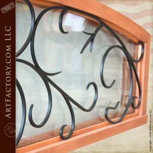 semi arched transom with French ironwork grill