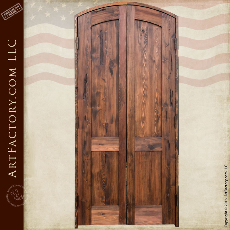 Slim Entry Double Doors Solid Natural Wood