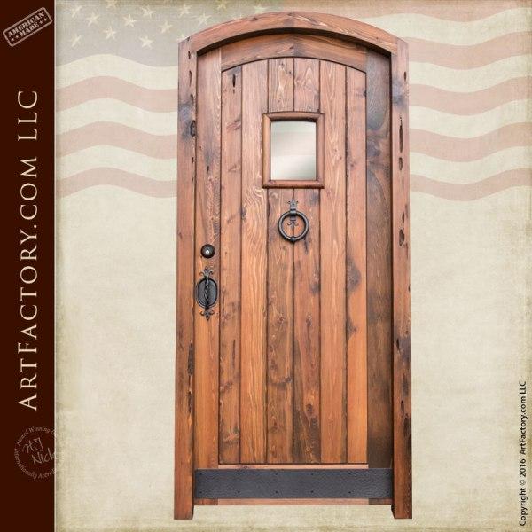 Entrance Doors Custom - Arched Doorway Entry Wood Plank Design