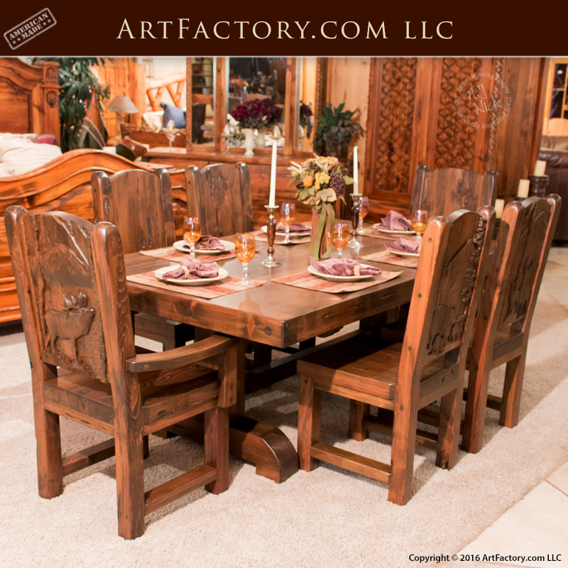 ... Hunting Lodge Dining Set, Hand Carved Dining Tables