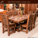 Hunting Lodge Dining Set, Hand Carved Dining Tables