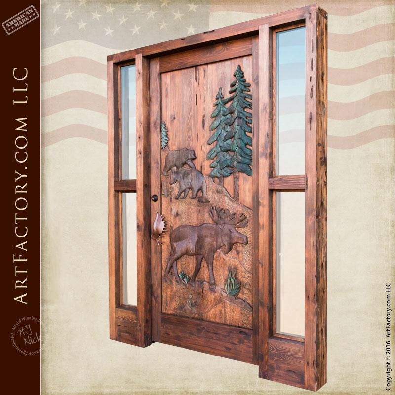 Custom Hand Carved Wildlife Doors Moose And Bear Lodge