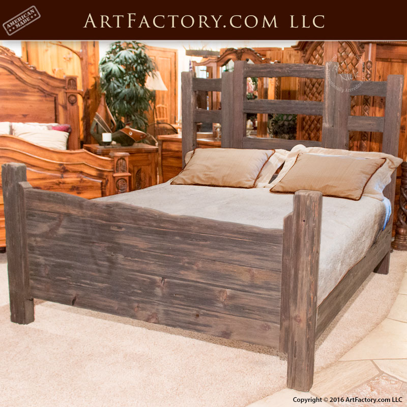 Custom wood furniture western bedroom set scottsdale for Western style beds