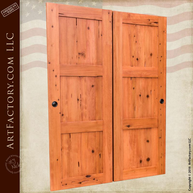 Custom Solid Wood Sliding Doors Rustic Style Double Doors