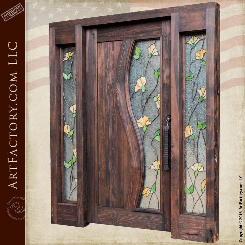 tulip stained glass door  craftsman entry door with sidelights