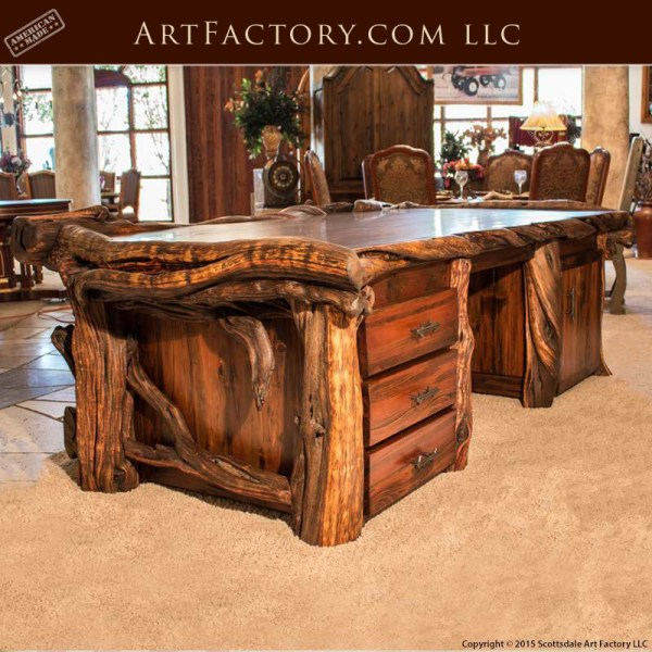 Custom Log Style Executive Desk Fine Art Wild Wood Desk