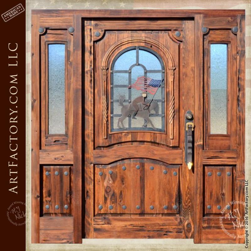 Western Style Custom Door Cowboy and American Flag \u2013 9860HC & Western Style Doors: Hand Forged Fine Art Custom Hardware