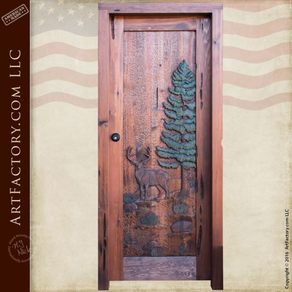 deer theme hand carved wood door