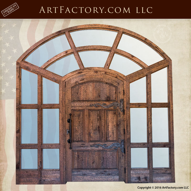 wood iron glass doors