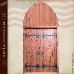 wood door with strap hinges