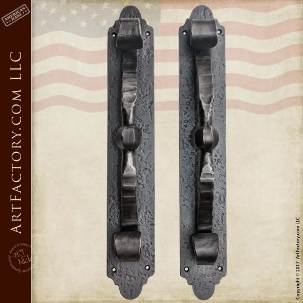 Rustic Hand Hammered Door Pulls Blacksmith Forged Scroll