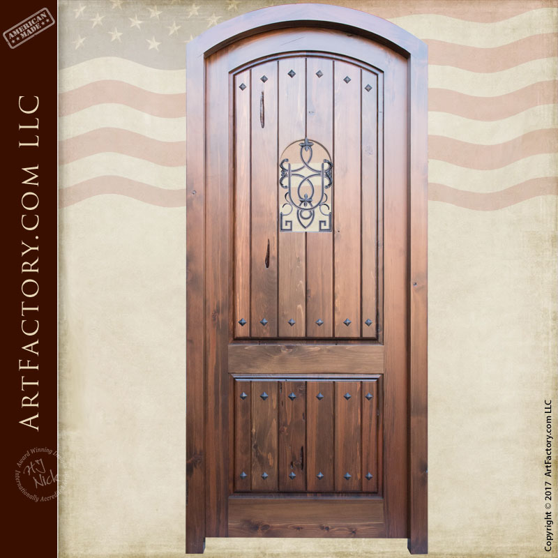 Eyebrow arched solid wood custom entrance door for Custom solid wood doors