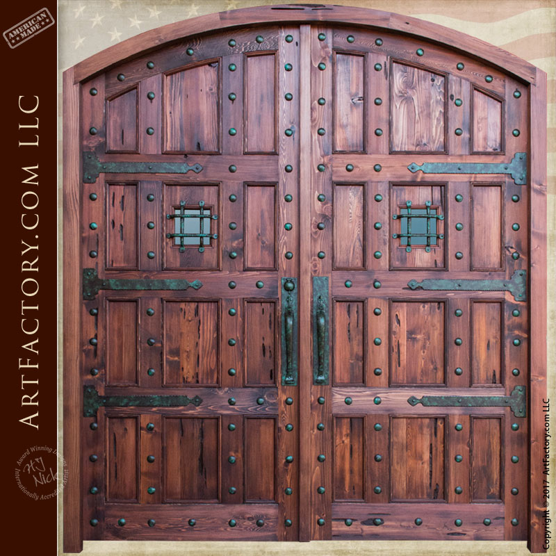 Castle Style Arched Double Doors Castle Style Arched Double Doors & Castle Style Arched Double Doors: Custom Hand Forged Iron Hardware