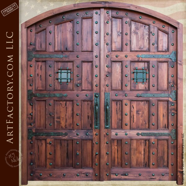 Castle Style Arched Double Doors Custom Hand Forged Iron Hardware
