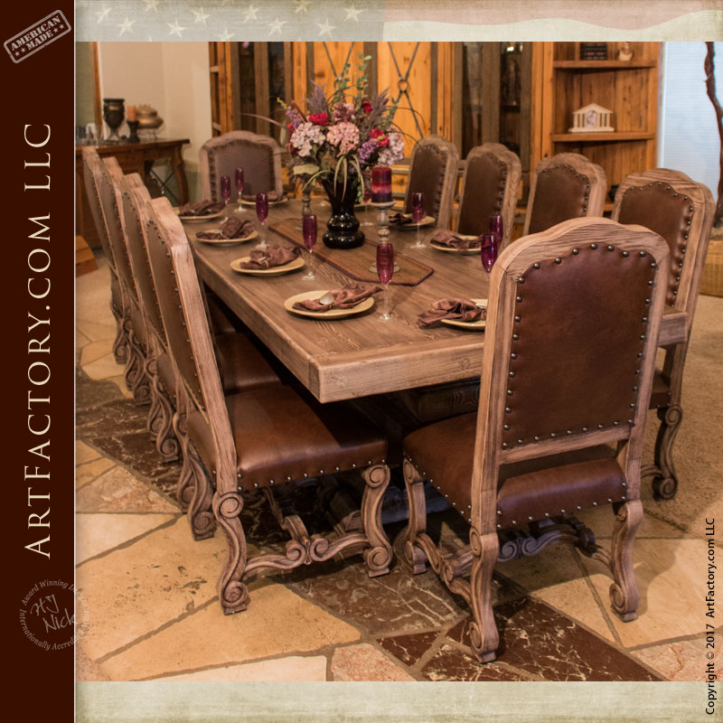 Custom Solid Wood and Hand Carved Dining Tables & Dining Furniture: Fine Art Dining Room Tables Chairs Stools