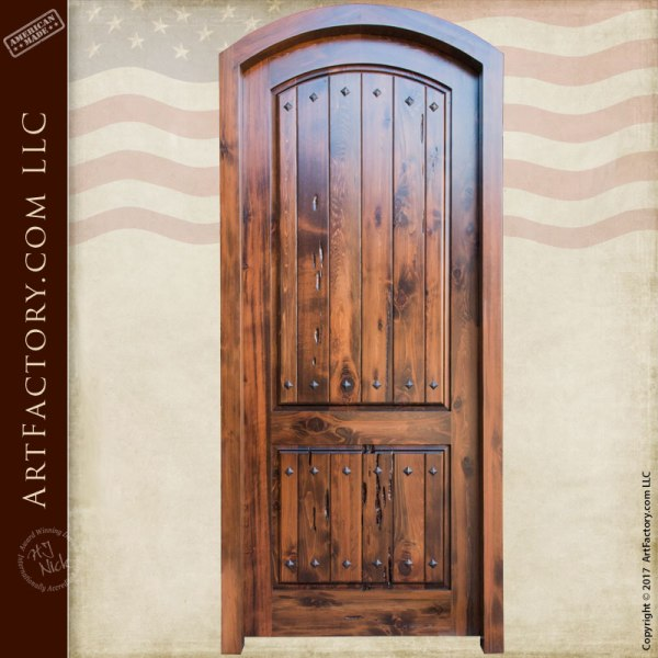 Custom Eyebrow Arched Door Thick Handcrafted Solid Wood